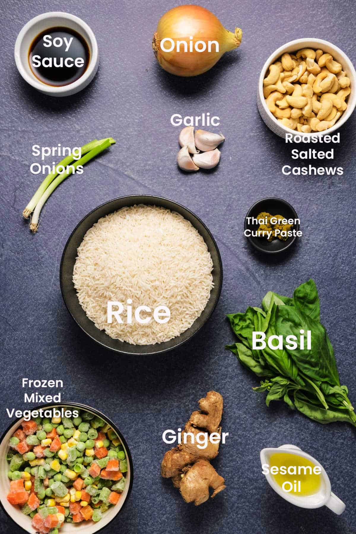 Photo of the ingredients needed to make vegan fried rice.