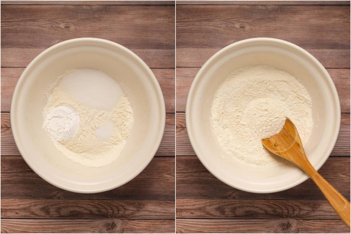 Collage of two photos showing dry ingredients added to bowl and mixed.