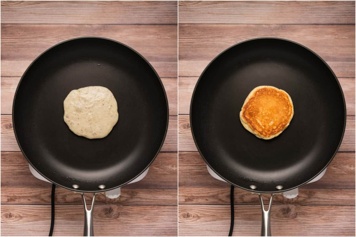 Two photo collage showing pancake batter added to frying pan and then flipped.