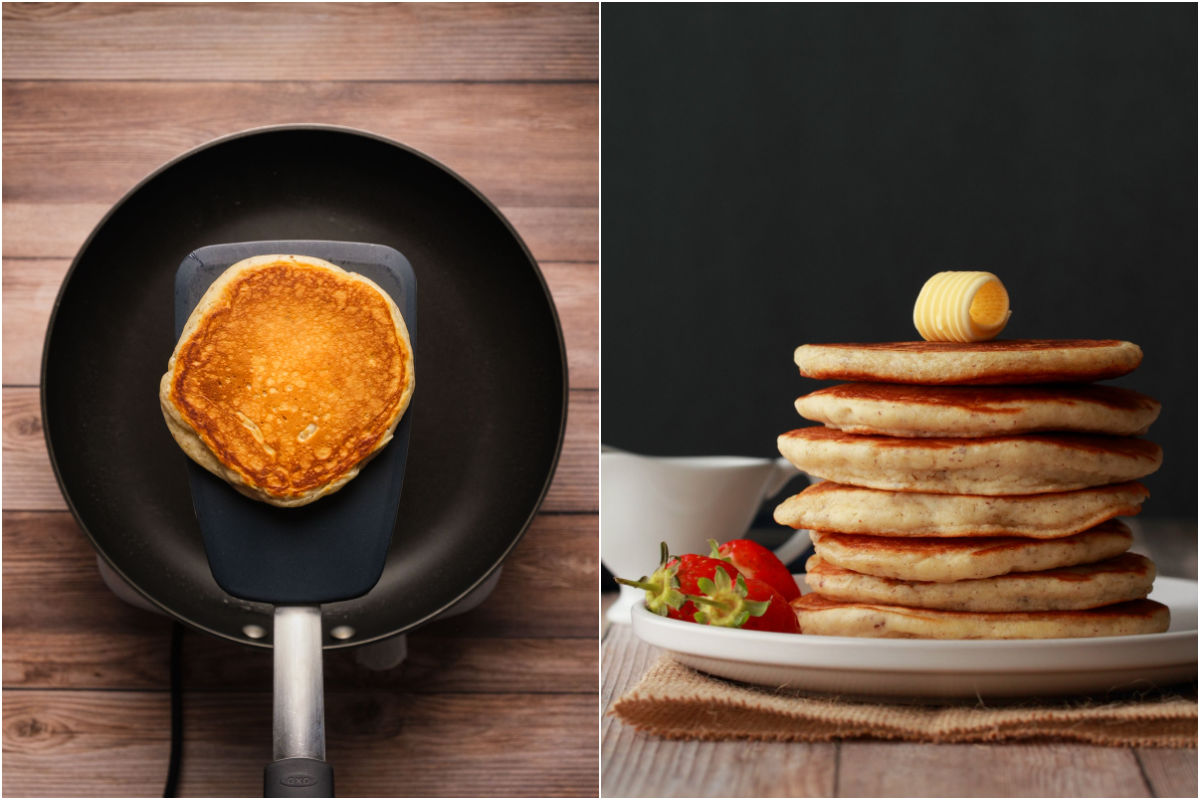 Two photo collage showing a cooked pancake lifted on a spatula and then a stack of pancakes on a plate.