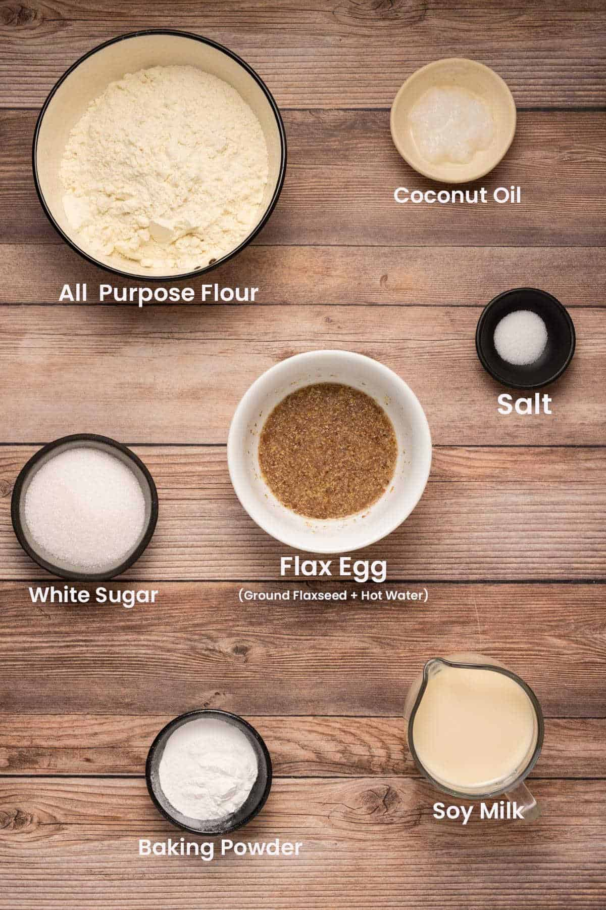 Photo of the ingredients needed to make pancakes.