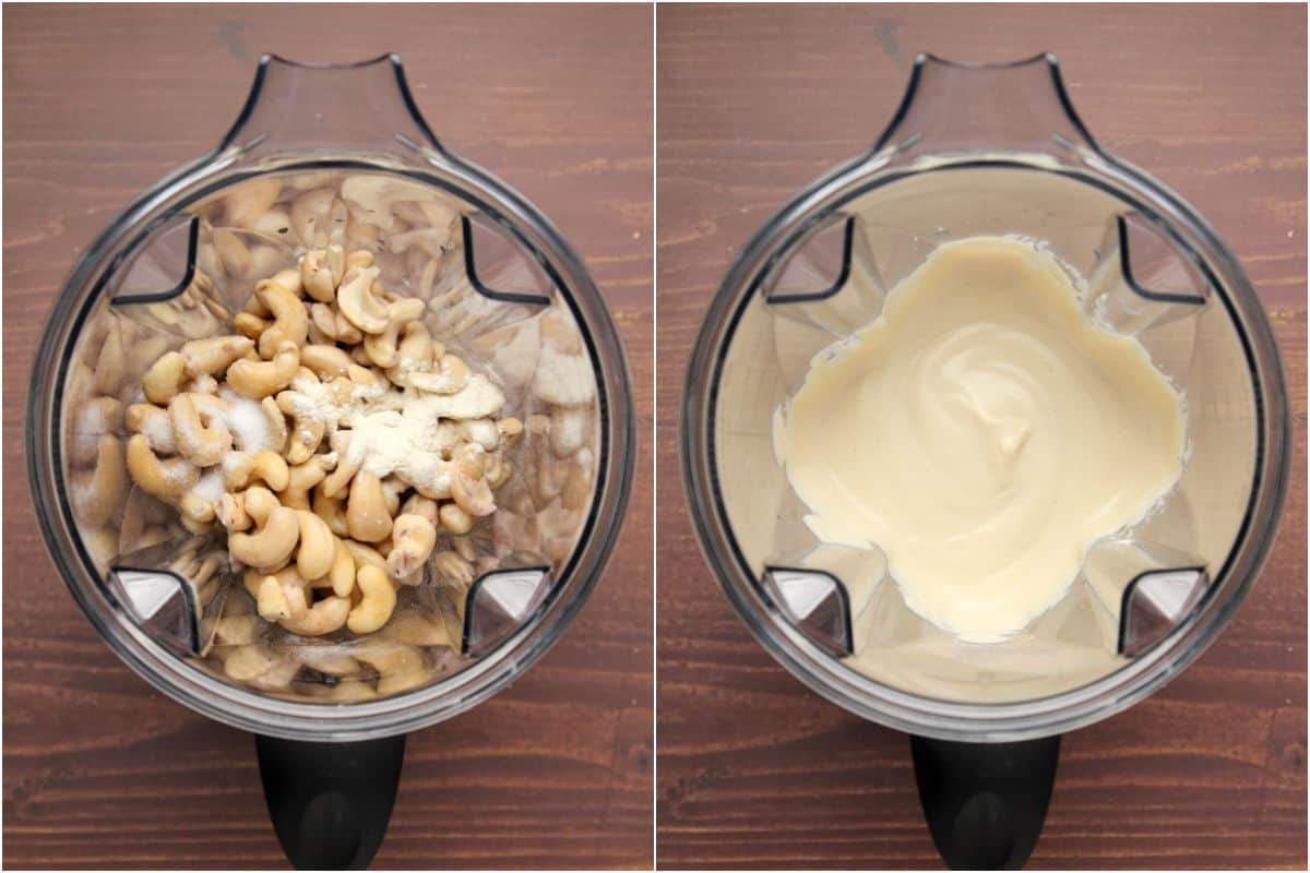 Collage of two photos showing ingredients added to blender jug and then blended.