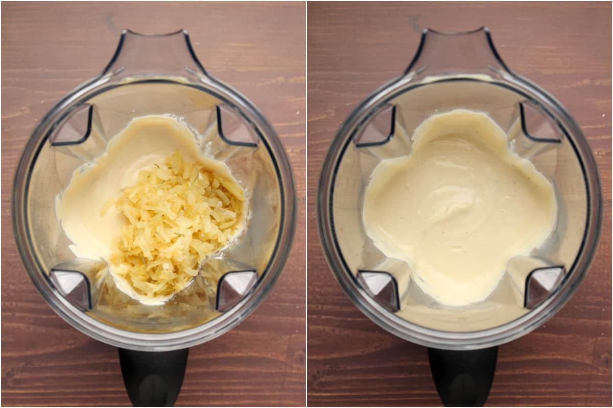 Collage of two photos showing onions added to the blender and blended in.