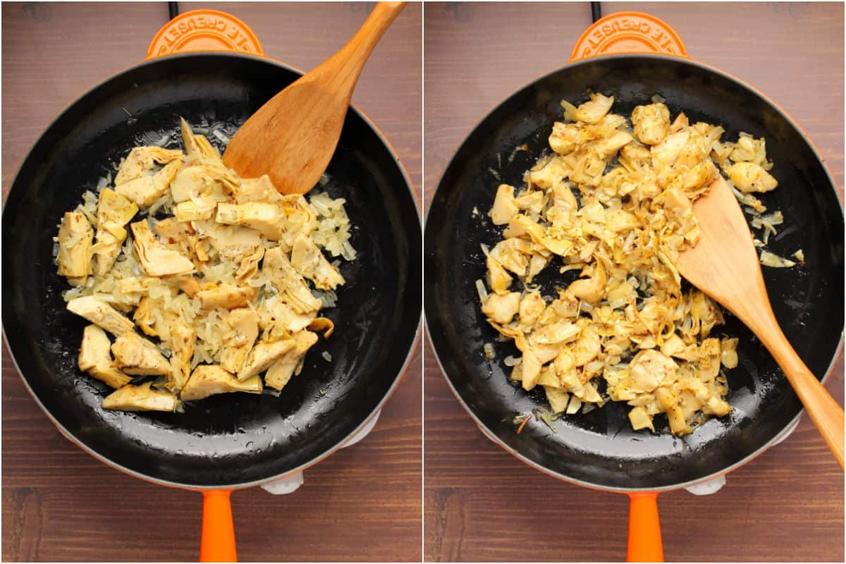 Collage of two photos showing artichokes added to frying pan with onions and sautéed together.