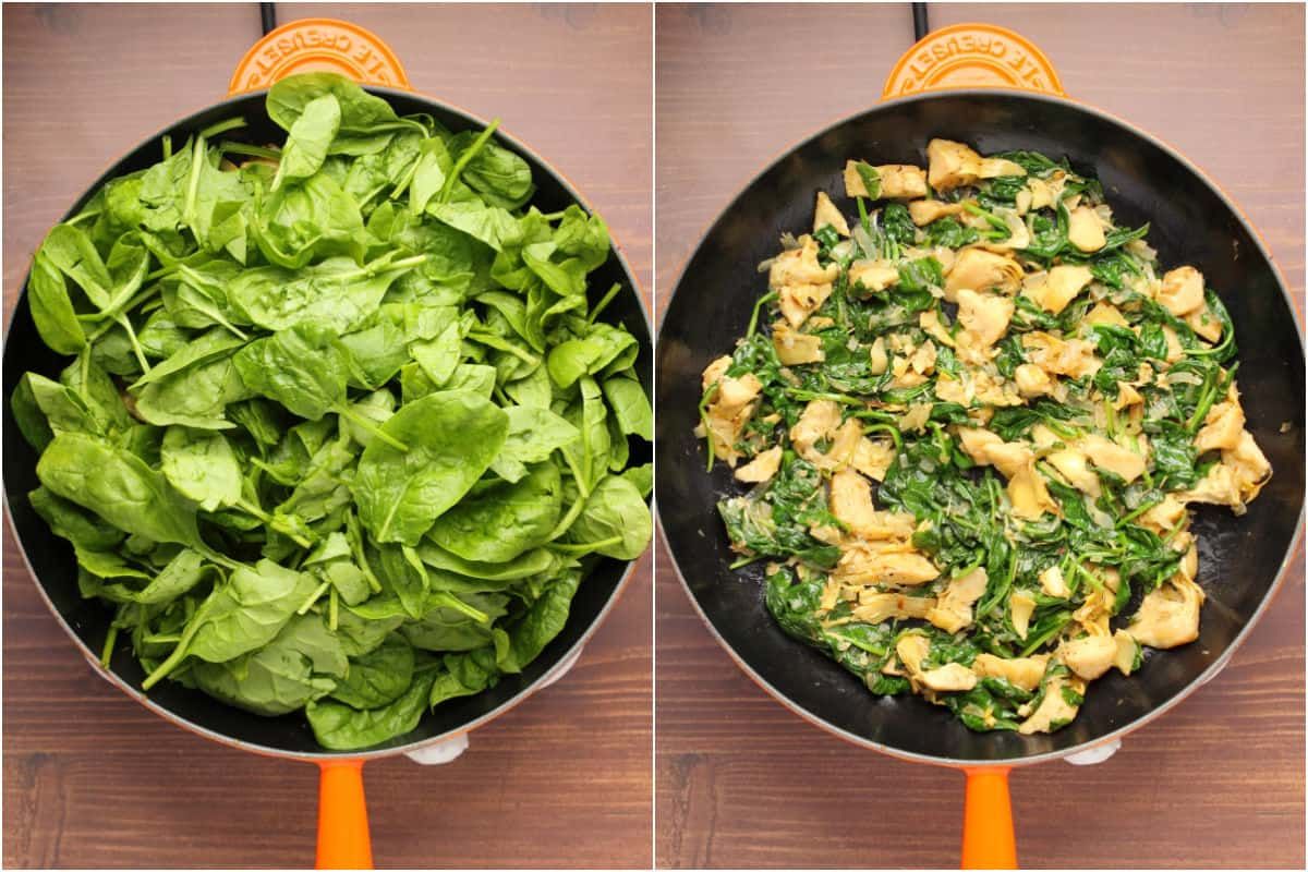 Two photo collage showing baby spinach added to pan and sautéed.