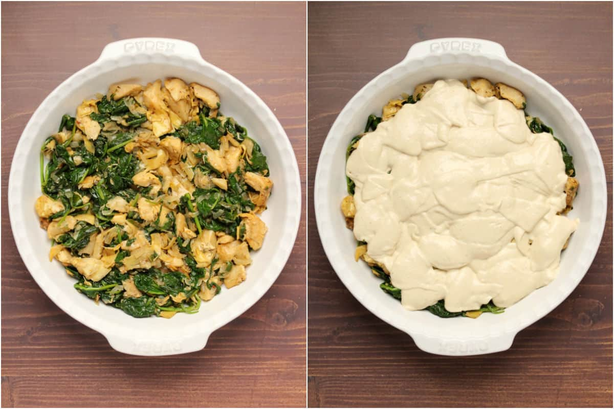 Two photo collage showing spinach and artichokes added to baking dish and cream cheese mix added on top.
