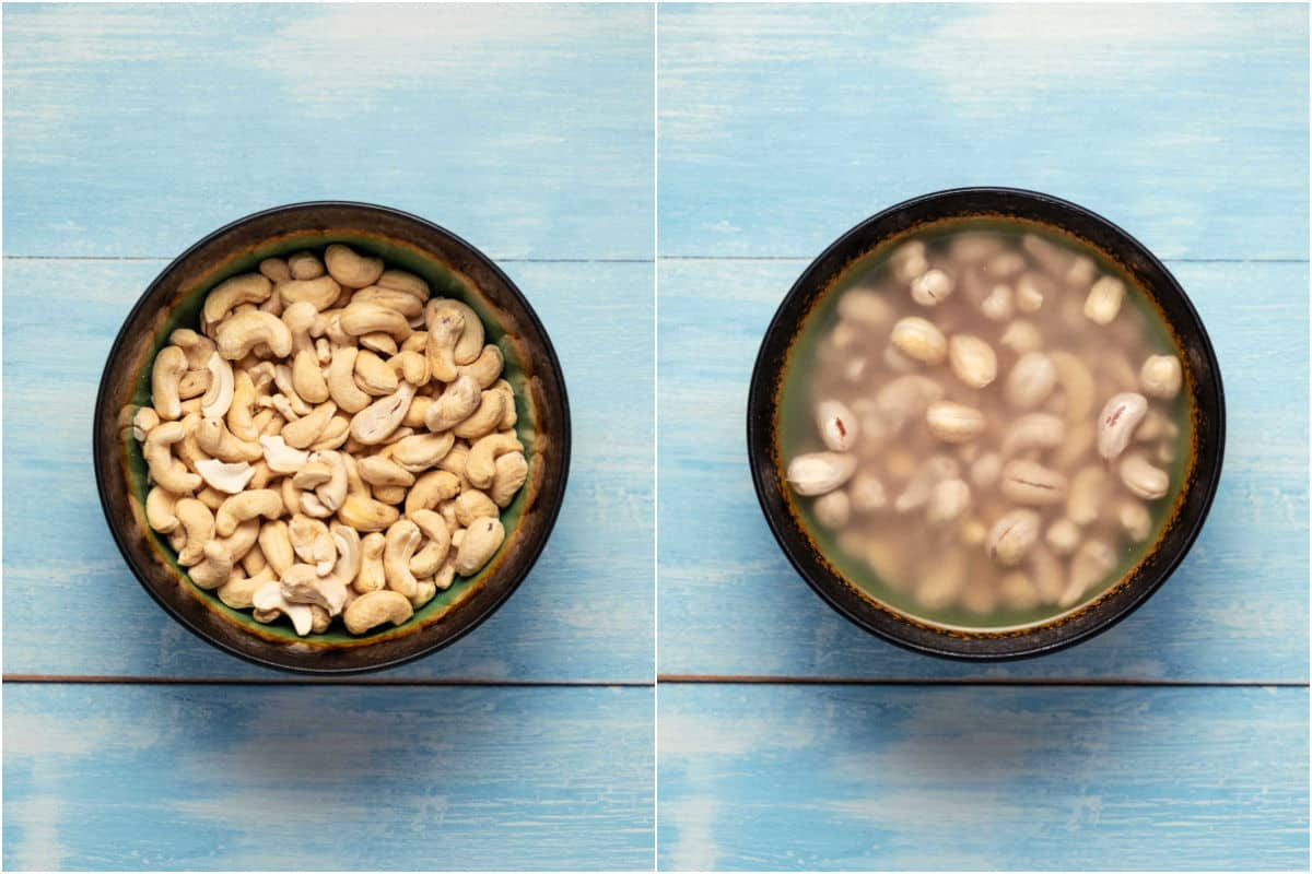 Collage of two photos showing cashews in a bowl and then covered with water.