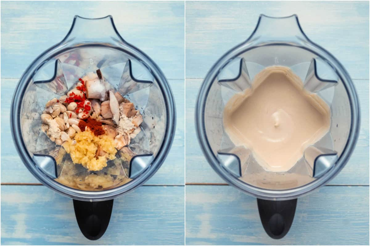 Two photo collage showing a blender jug before and after blending.