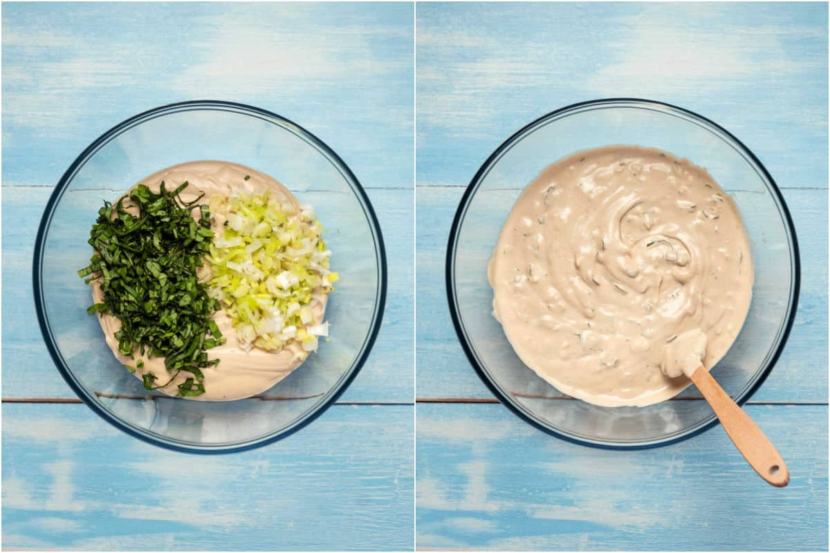 Two photo collage showing cream cheese and herbs in a bowl and then mixed in.
