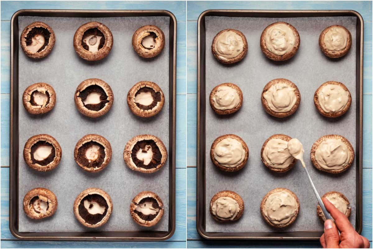 Collage of two photos showing mushrooms on a baking tray and then stuffed with cream cheese.