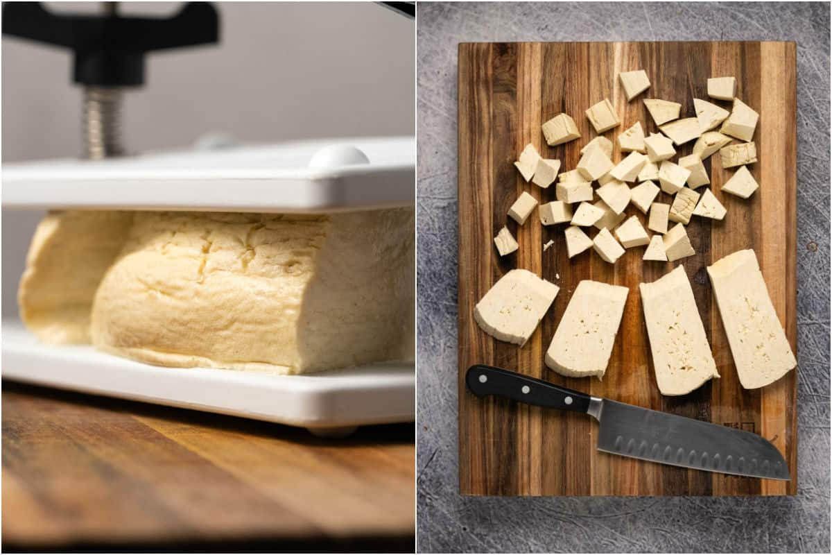 Collage of two photos showing tofu pressing and then cut into cubes.
