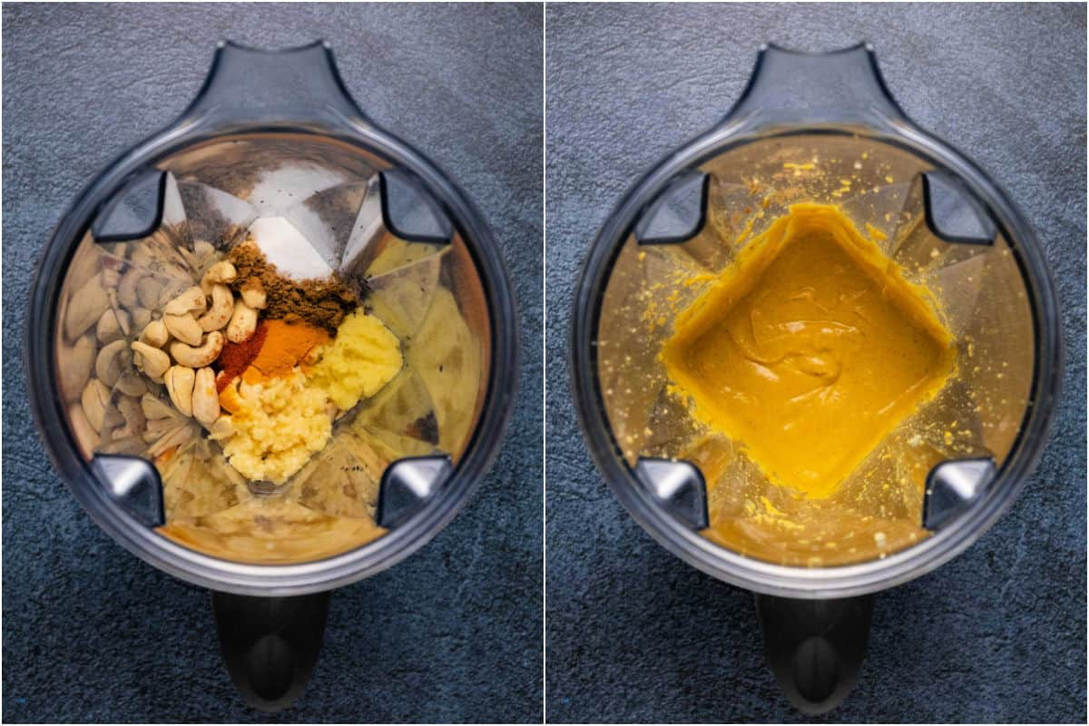 Two photo collage showing blender jug before and after blending.