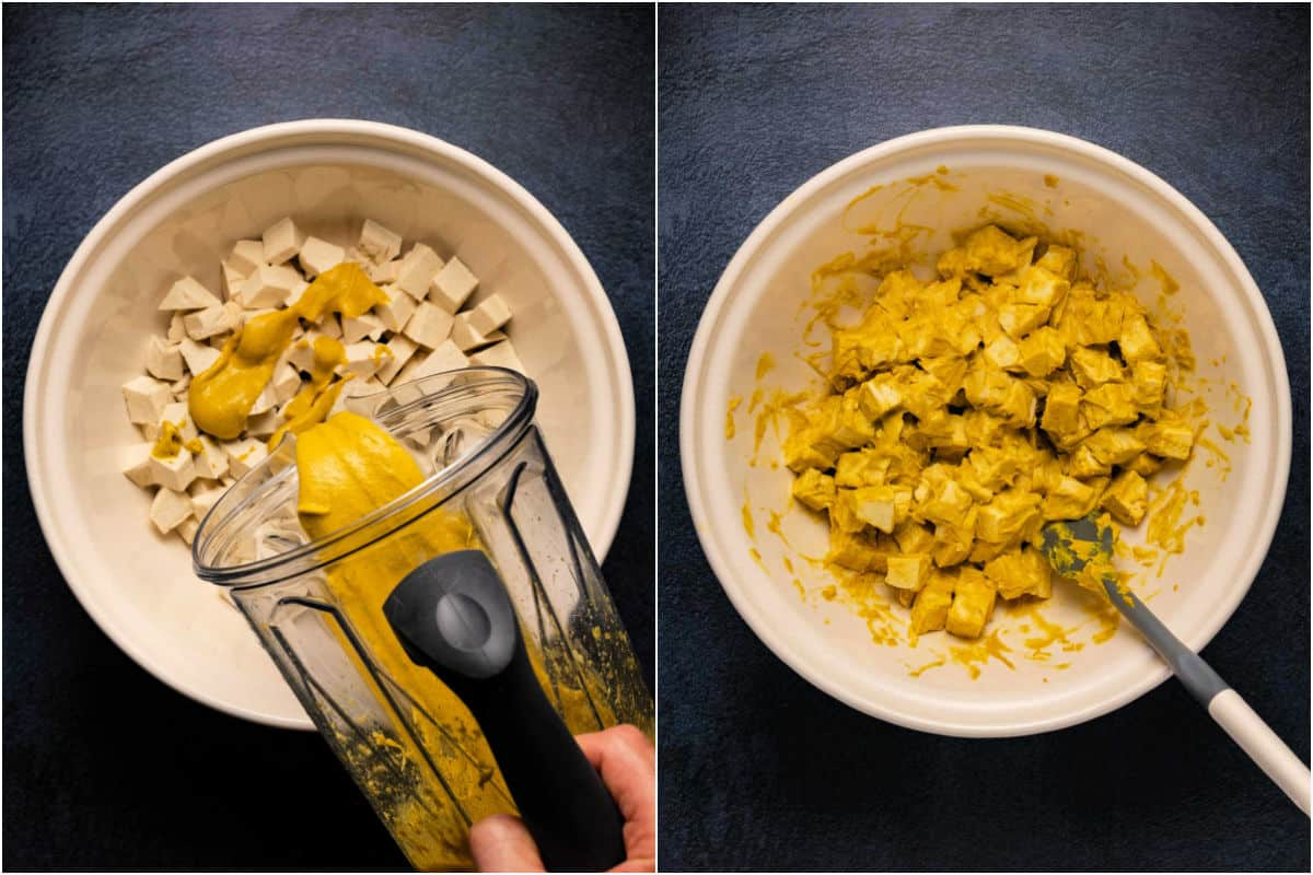 Collage of two photos showing vegan yogurt sauce poured over tofu and then mixed in.