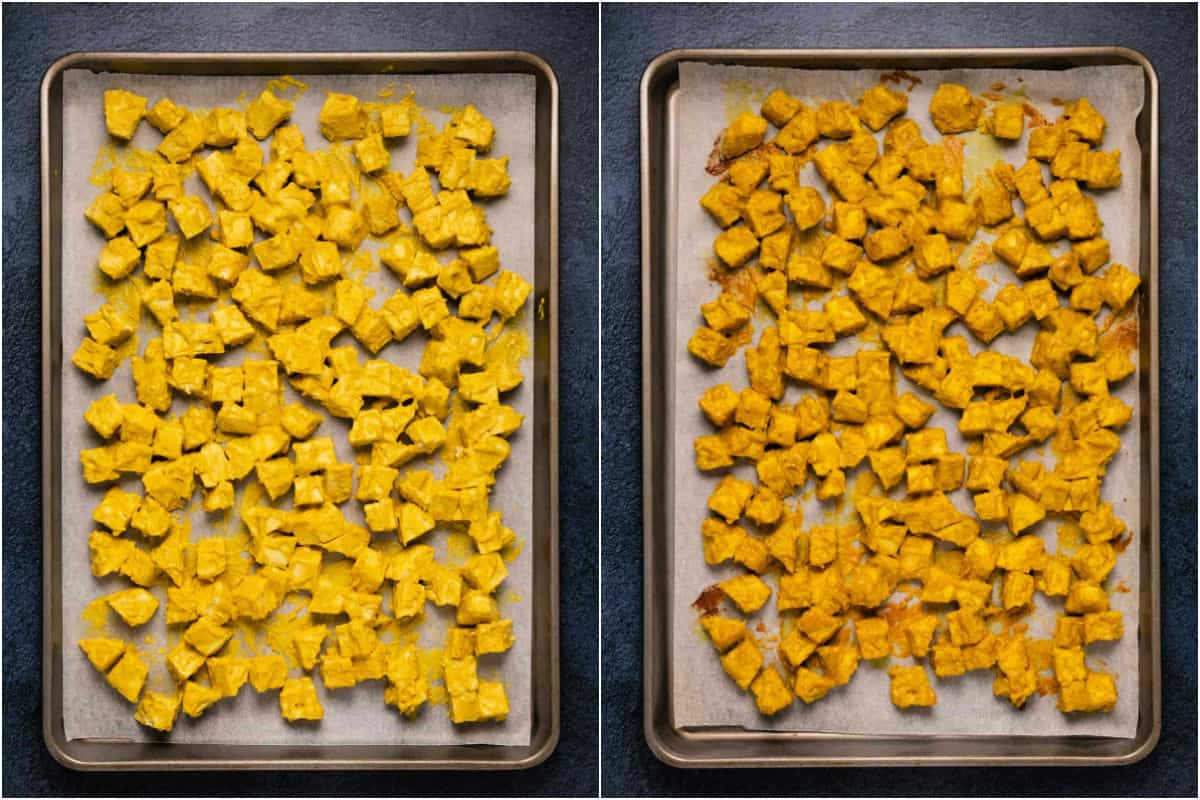 Collage of two photos showing tofu before and after baking.