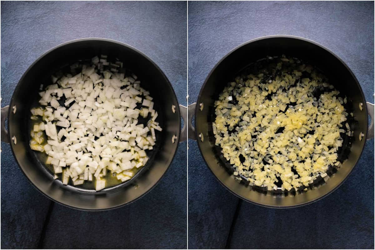 Two photo collage showing onions in the pot and then sautéed.