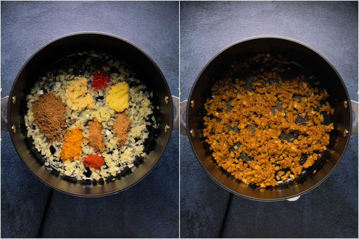 Collage of two photos showing spices added to onions and sautéed.