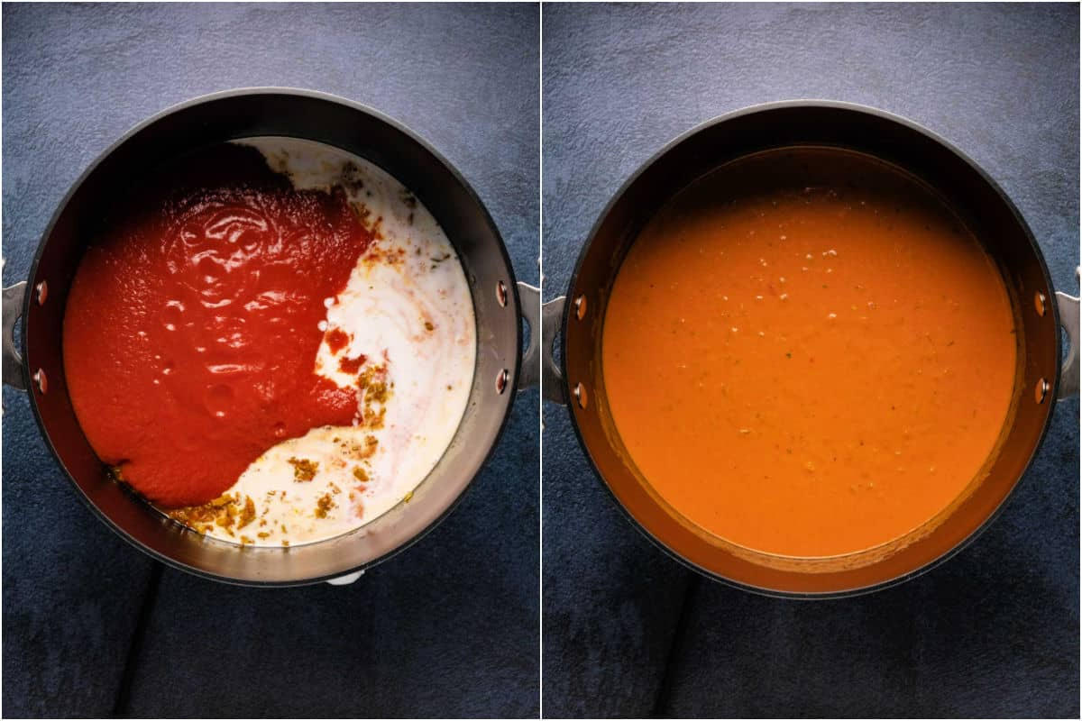 Collage of two photos showing crushed tomatoes and coconut cream added to pot and then mixed in.