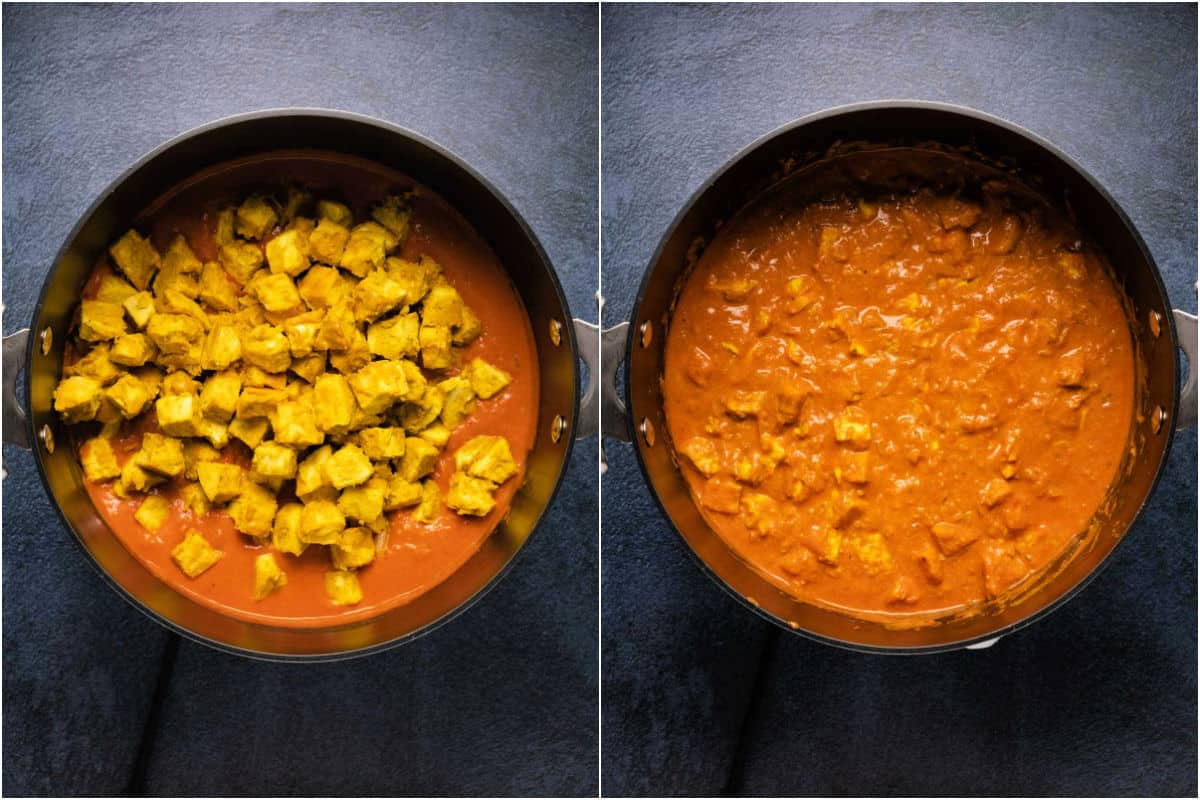 Collage of two photos showing tofu added to sauce and folded in.