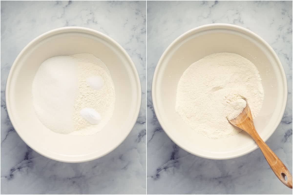 Collage of two photos showing dry ingredients in mixing bowl and mixed together.