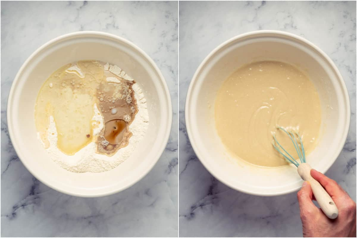 Collage of two photos showing wet ingredients added to dry and mixed into a cake batter.