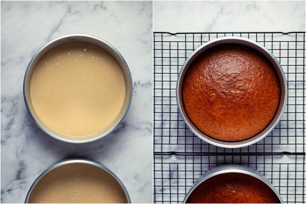 Collage of two photos showing cake before and after baking.