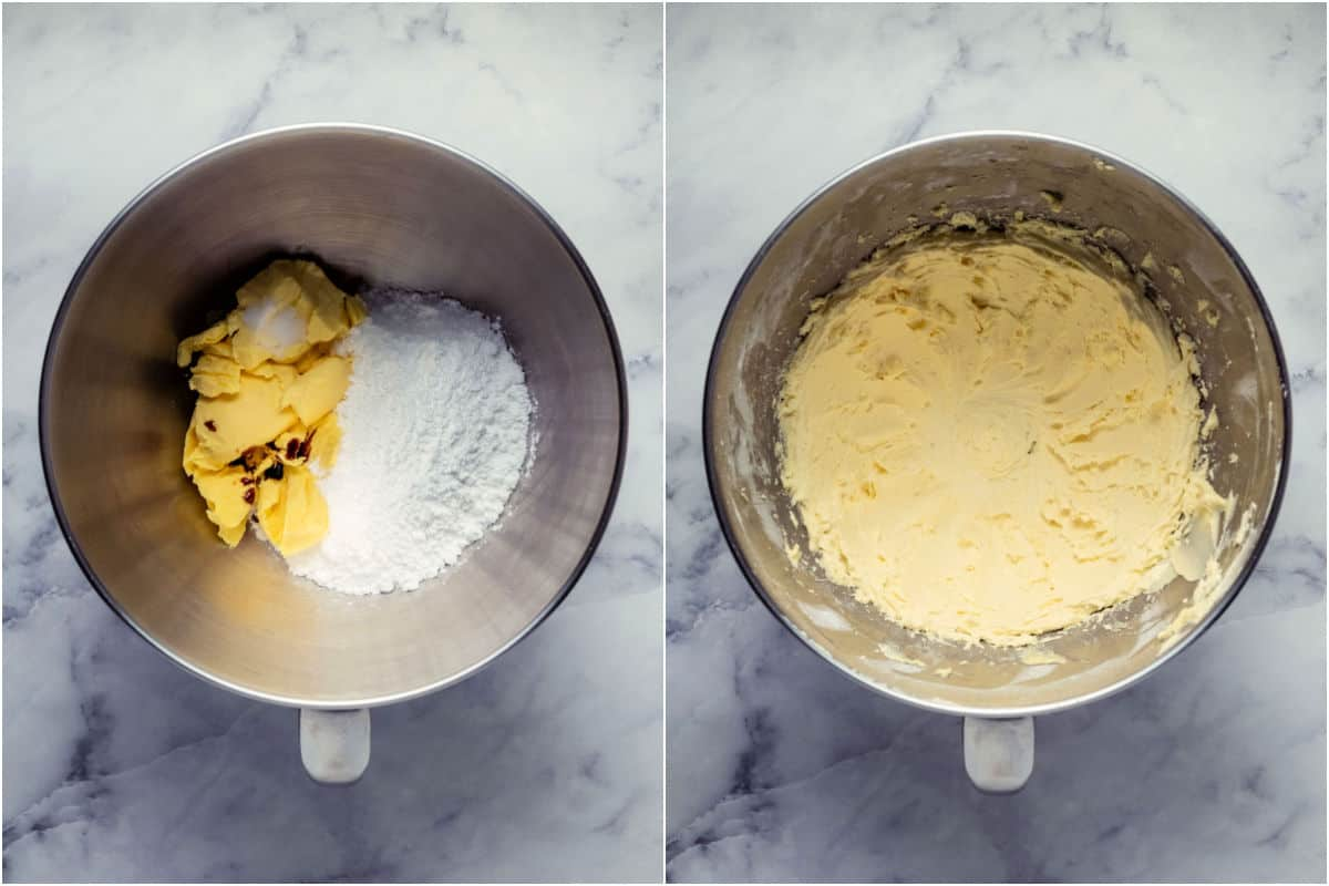 Two photo collage showing ingredients for buttercream added to stand mixer and then whipped into buttercream.
