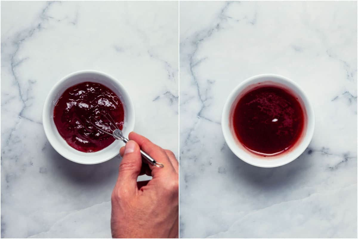 Collage of two photos showing strawberry jam added to bowl and then whisked till smooth.