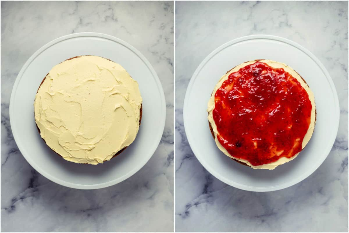 Two photo collage showing buttercream added to cake layer and then topped with strawberry jam.