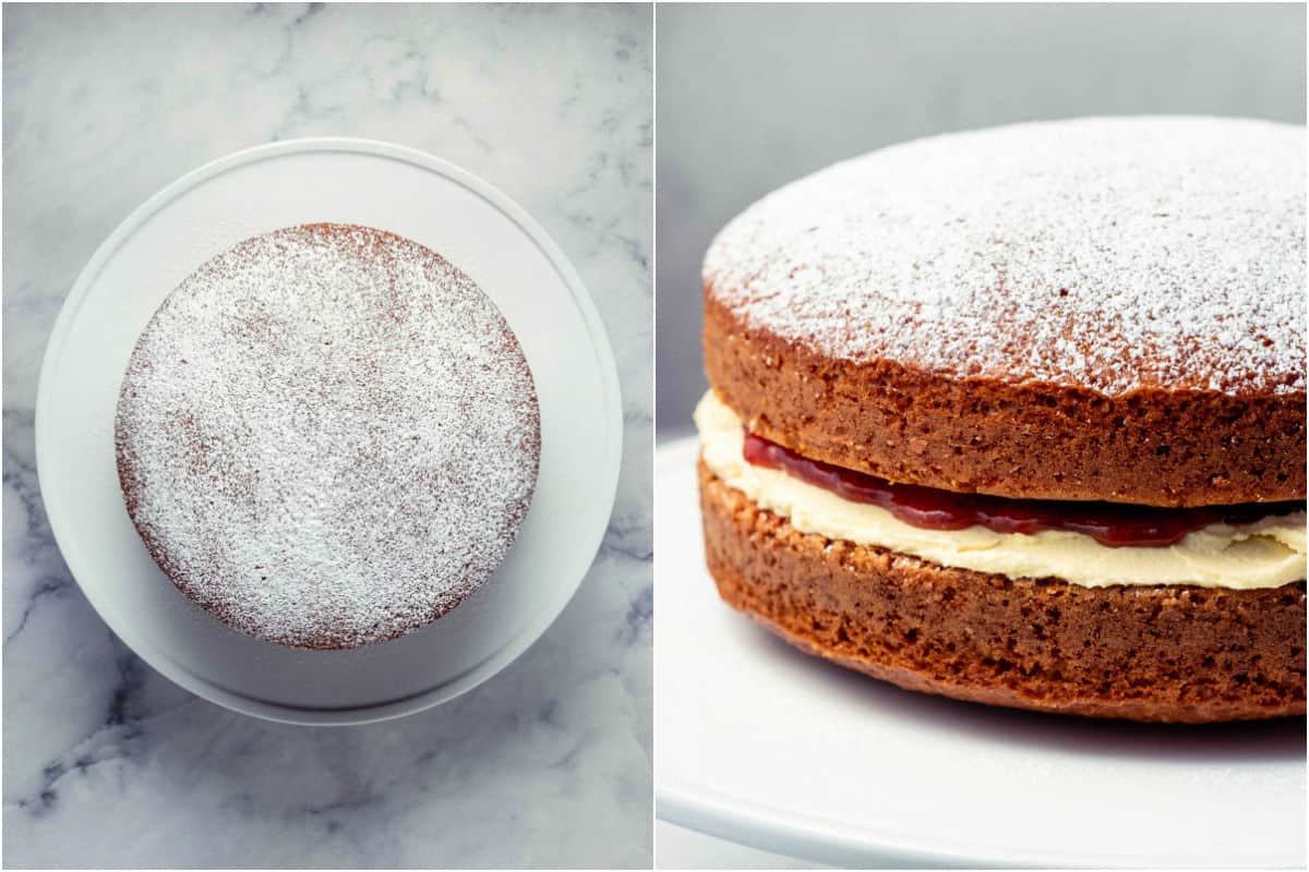 Collage of two photos showing powdered sugar added to top of cake and then a side view of the whole cake.
