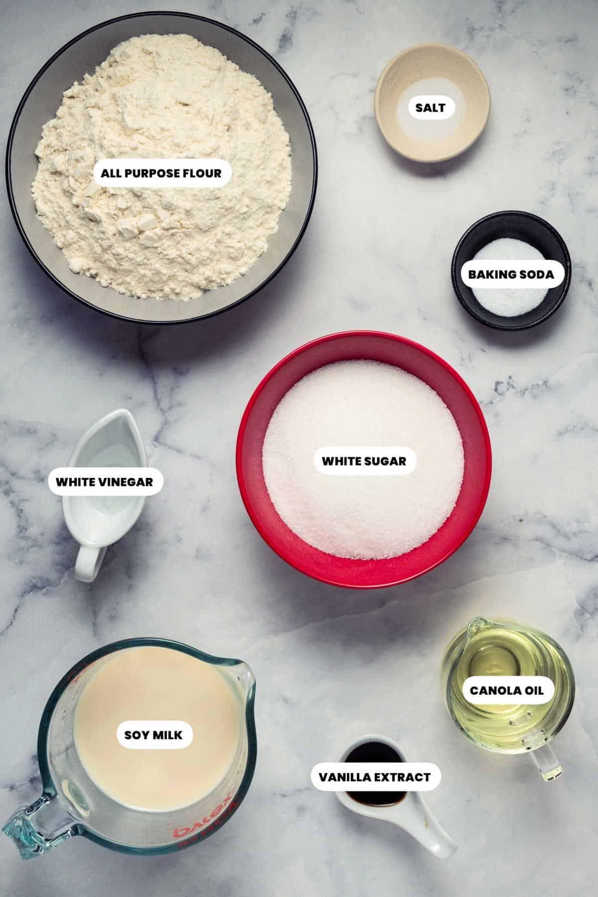 Ingredients to make the vegan sponge cake.