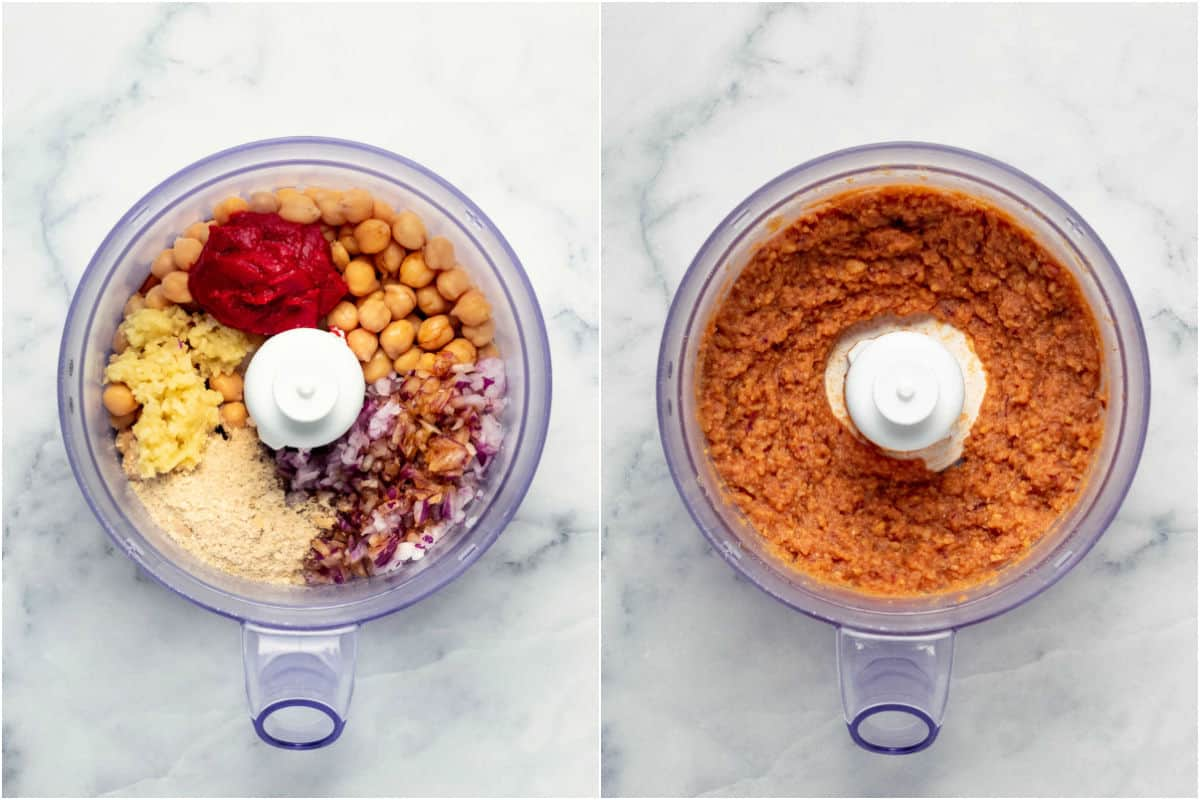 Collage of two photos showing ingredients added to food processor and then processed.