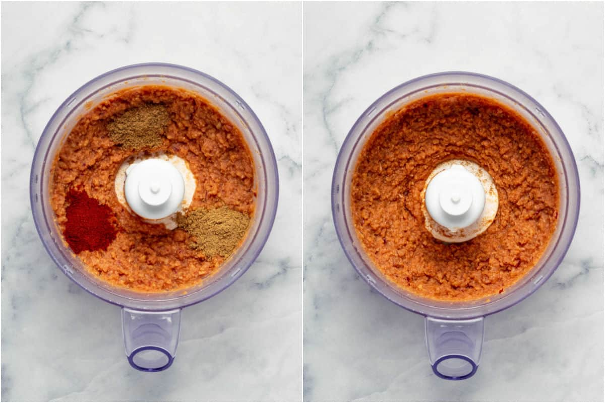 Collage of two photos showing spices added to food processor and mixed in.