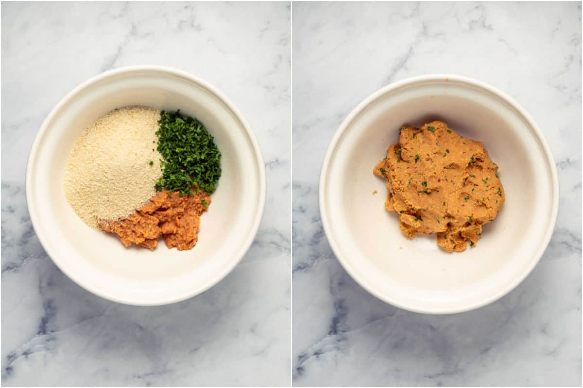 Two photo collage showing breadcrumbs and fresh herbs added to meatball mixture and mixed in.