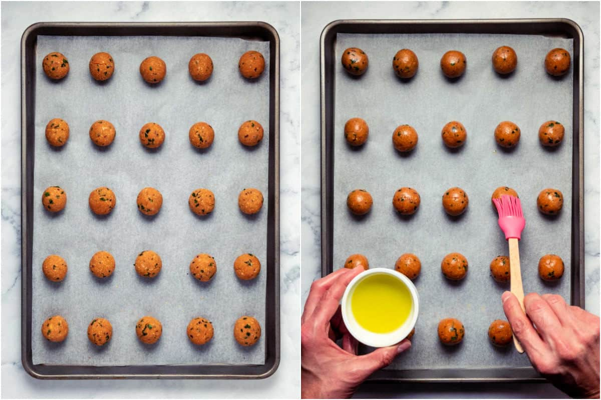 Two photo collage showing meatballs on a parchment lined baking tray and then brushing them with olive oil.
