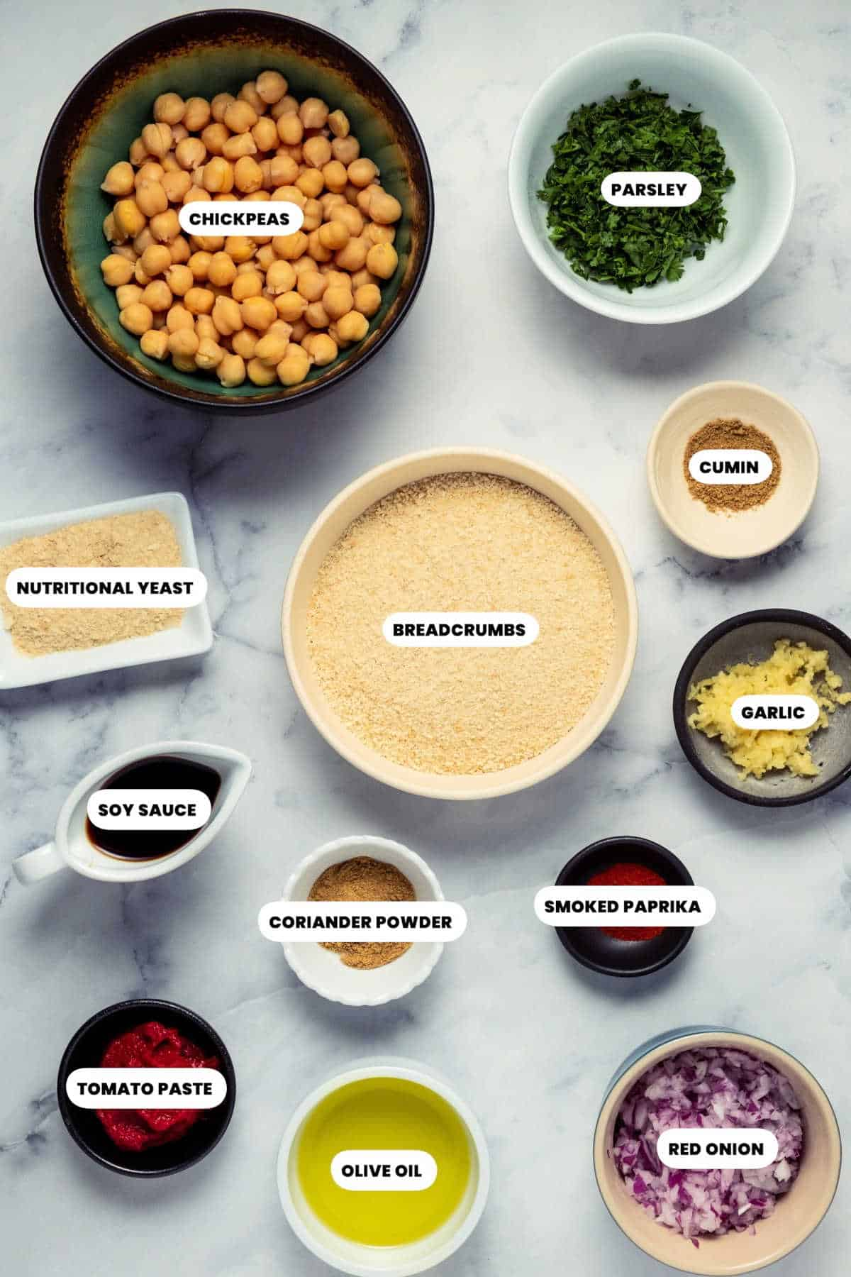 Photo of the ingredients needed to make chickpea meatballs.