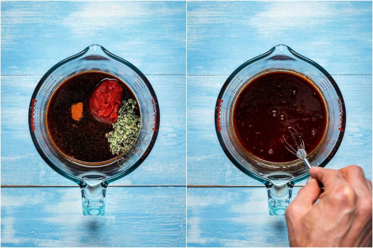Two photo collage showing ingredients for marinade in a measuring jug and whisked together.