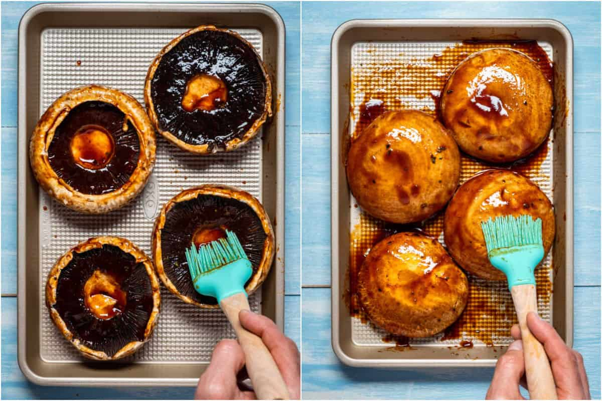 Two photo collage showing portobello mushrooms brushed with marinade on each side.