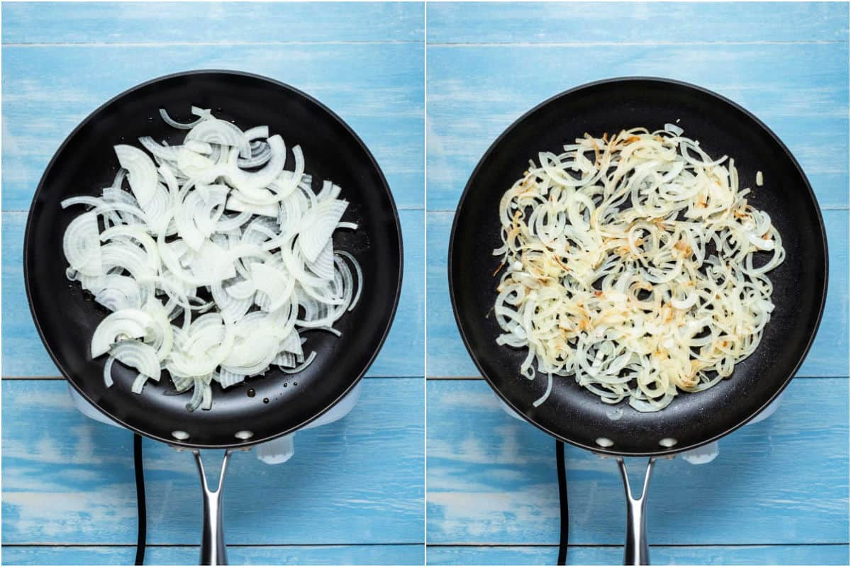 Two photo collage showing onions and olive oil added to frying pan and fried.