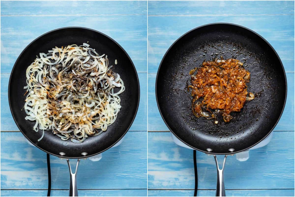 Two photo collage showing maple syrup and soy sauce added to fried onions and fried to caramelized.