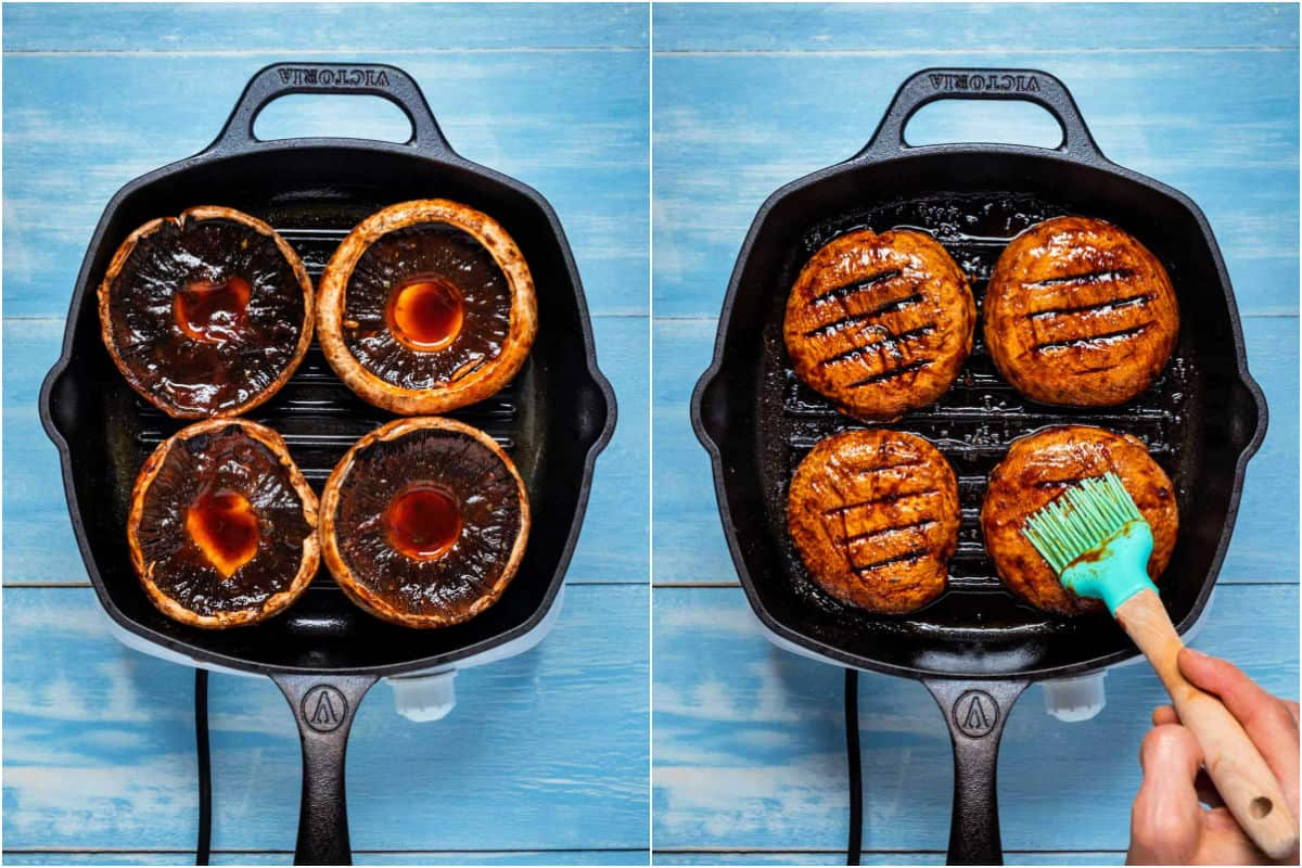 Two photo collage showing portobello mushrooms in grill pan grilling on either side.