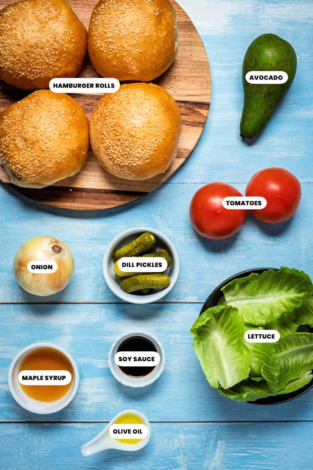 Photo of the ingredients for making up the burgers.