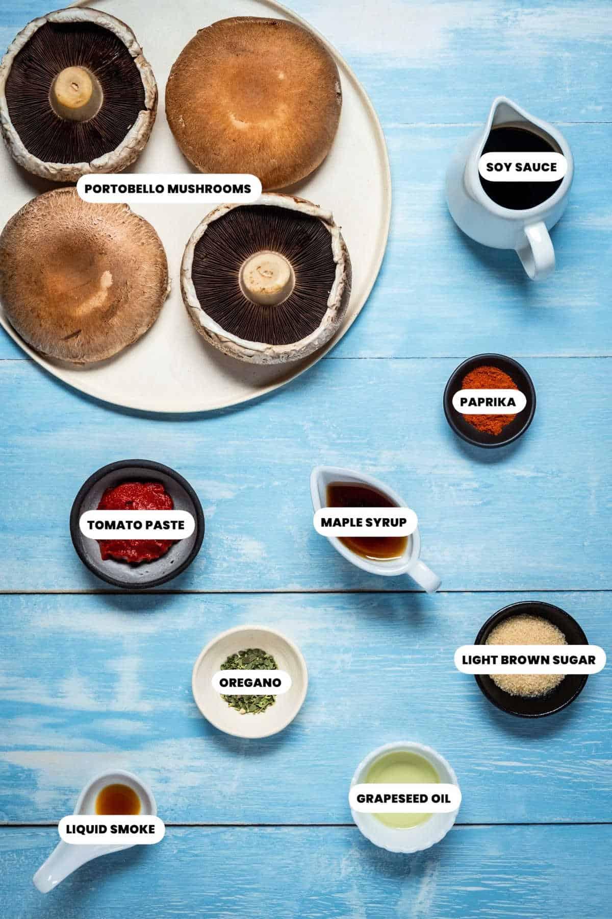 Photo of ingredients for the portobello mushrooms.