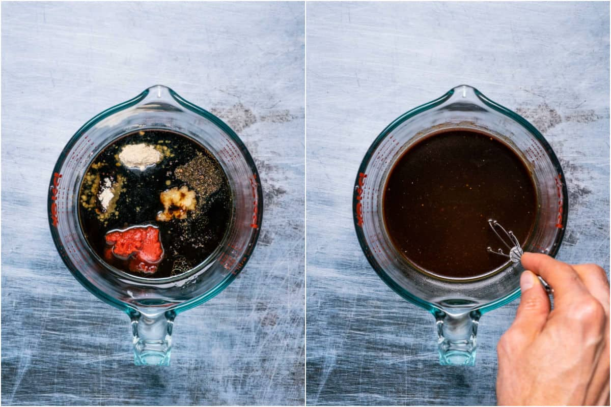 Collage of two photos showing marinade sauce ingredients added to measuring jug and then whisked together.