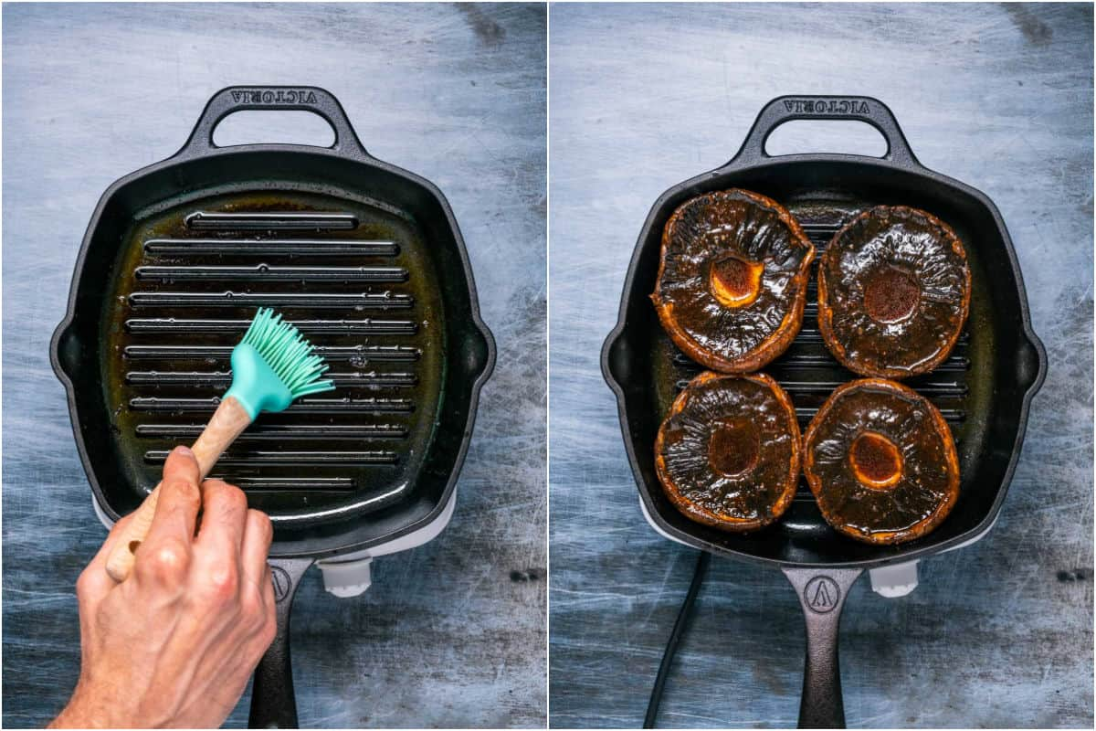 Two photo collage showing a grill pan being brushed with oil and then mushrooms frying in the grill pan.