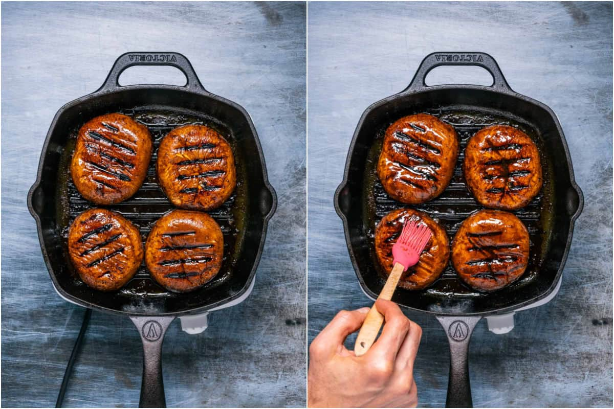 Two photo collage showing mushrooms with grill lines and then having marinade sauce brushed on top.