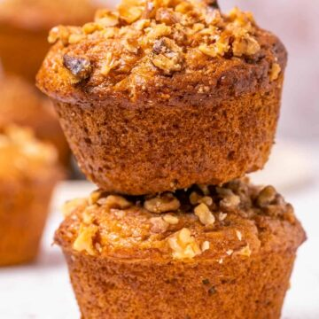 Stack of two muffins.