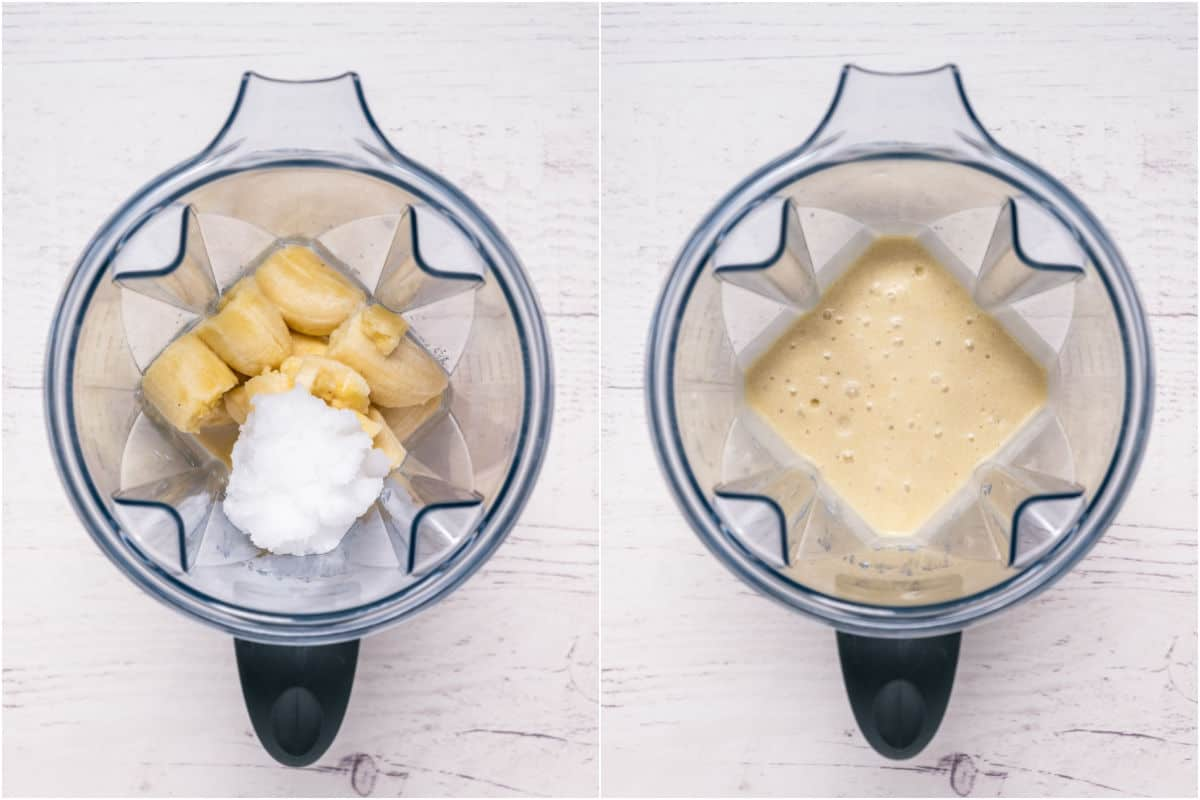 Collage of two photos showing bananas, coconut oil and soy milk added to blender jug and blended.