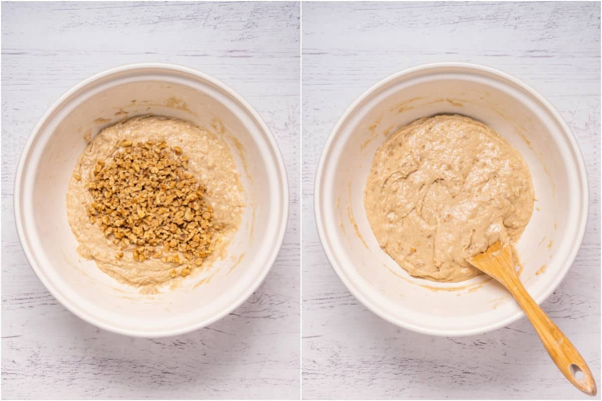 Two photo collage showing chopped walnuts added to mixing bowl and folded in.