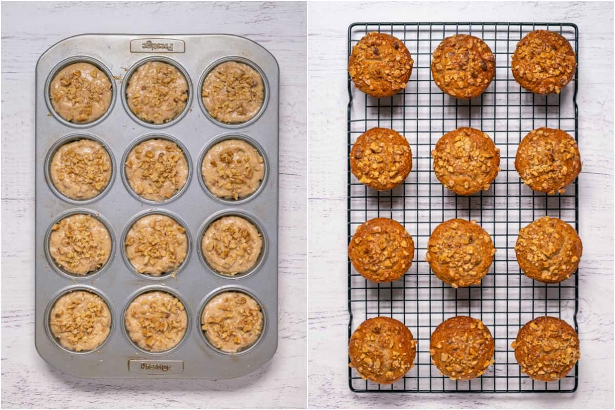 Two photo collage showing muffins before and after baking.