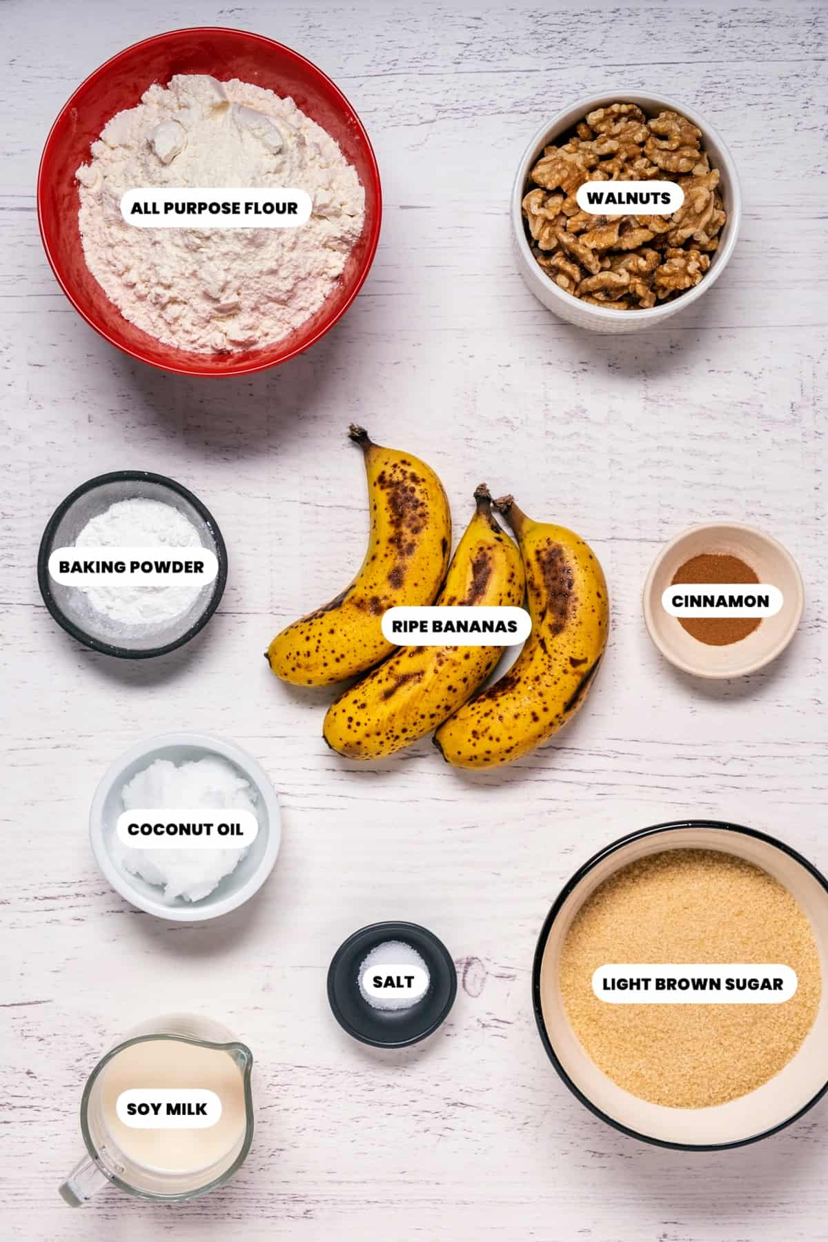 Photo of the ingredients needed to make vegan banana bread muffins.